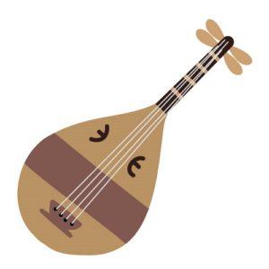 楽器柄の着物の琵琶