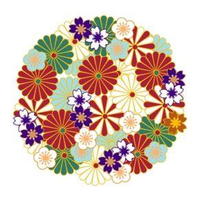 花の着物の柄