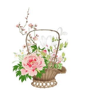 花籠の着物の柄の画像