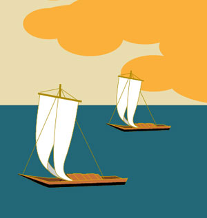 帆掛け船の着物の柄画像