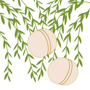 柳に蹴鞠の着物の柄の画像
