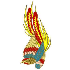 尾長鳥の着物の柄の画像