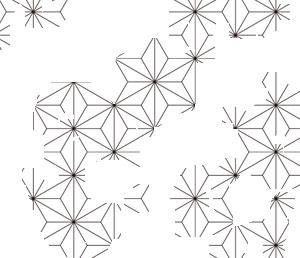 破れ麻の葉の着物の柄の画像