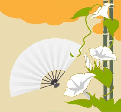 源氏物語の夕顔の着物の柄画像