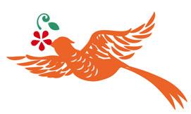 花喰鳥の着物の柄の画像