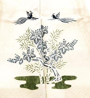 桐竹鳳凰の着物の柄の画像