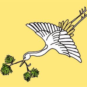 松喰鶴の着物の柄の画像