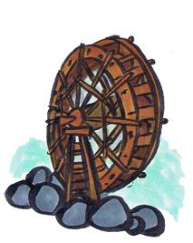 水車の着物の柄の画像